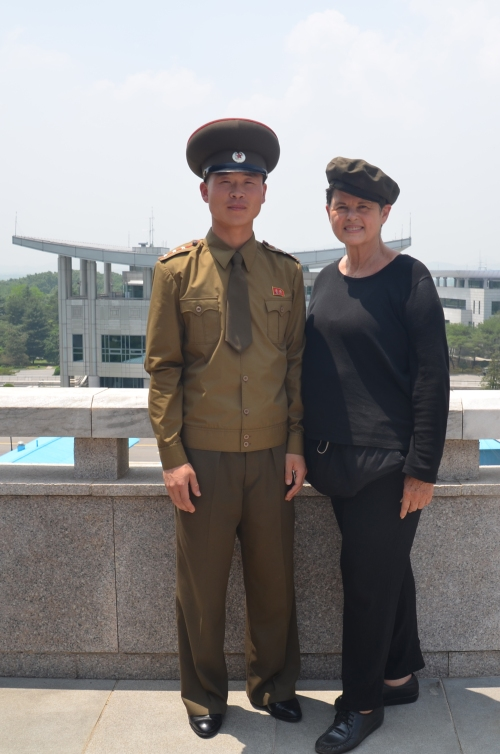 Getting my photo with one of the policemen at the DMZ