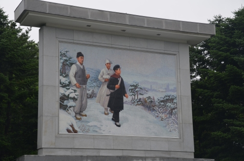 Mural representing Kim Il-Sung's decision as a young man to go to war