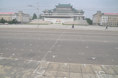 Looking across Kim Il-Sung Square to the Grand People's Study Palace