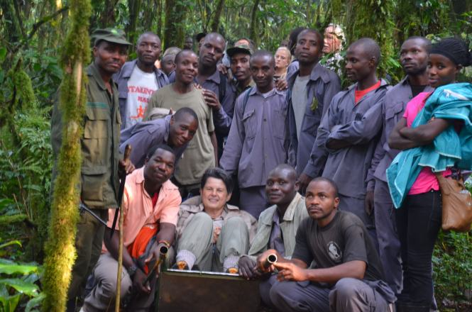 The wonderful porters who helped all 8 of us in our trekking group in Bwindi Impenetrable Forest in Uganda. Our trek would not have been successful without them.