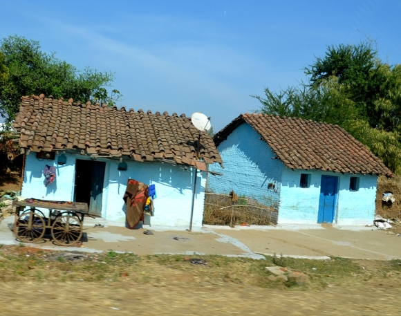 The rural people in Central India paint their houses blue because dust does not stick to blue paint.